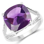 Malaika  Sterling Silver 5 7/8ct Amethyst and White Topaz Ring