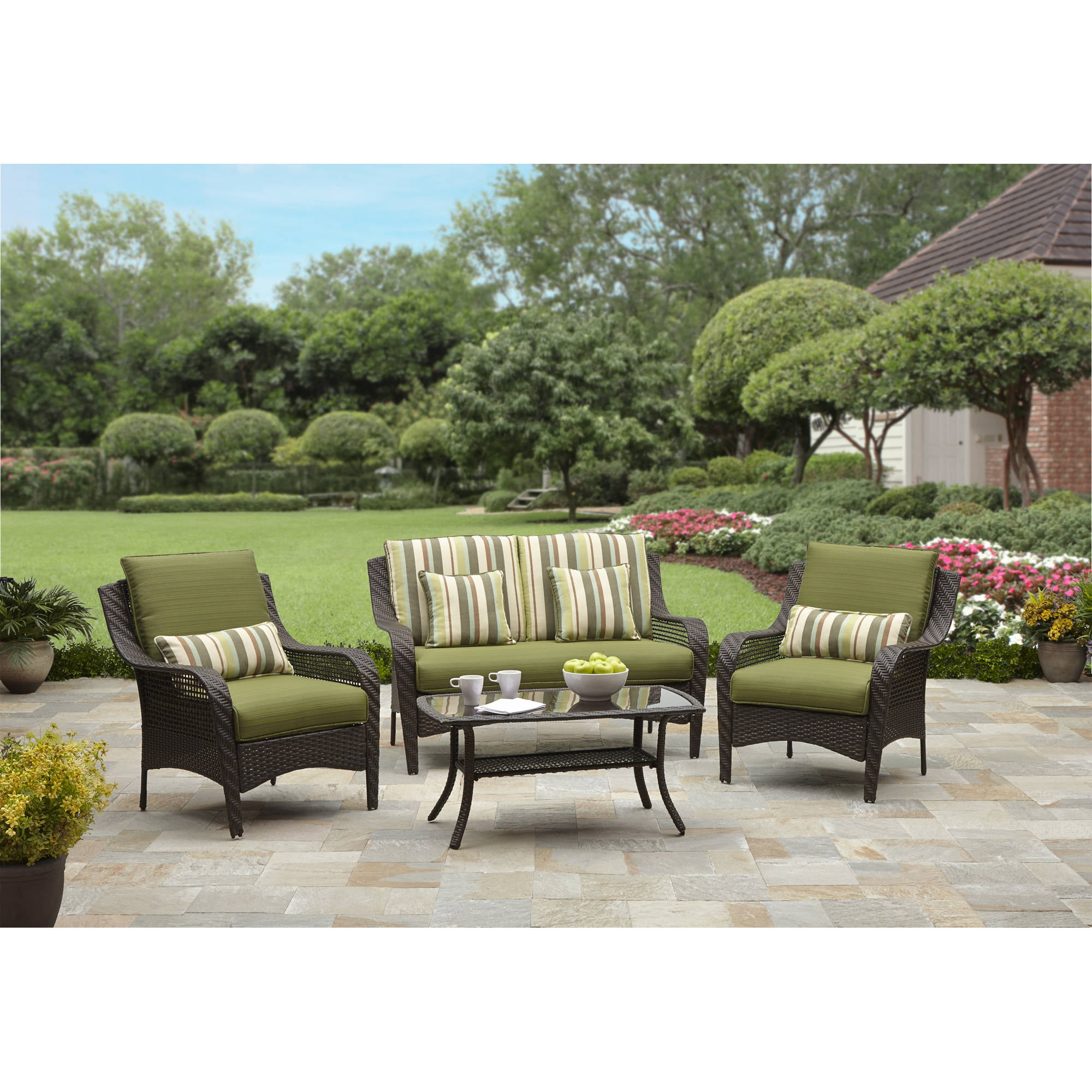 Better Homes And Gardens Amelia Cove 4 Piece Woven Patio Conversation Set,  Seats 4   Walmart.com