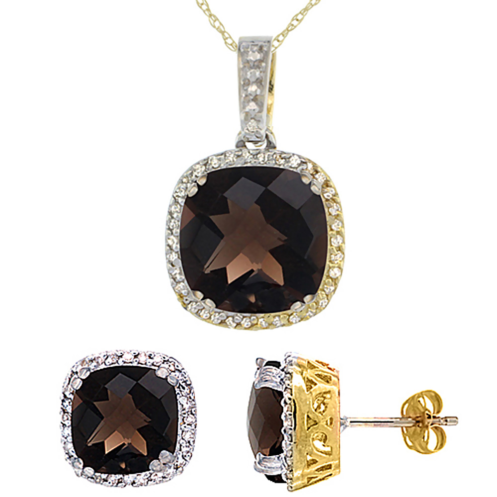 10K Yellow Gold Natural Cushion Smoky Topaz Earrings & Pendant Set Diamond Accents by WorldJewels