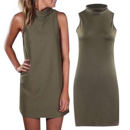 11cc57292c4 Vista - Women Summer Sexy Party Dress Elegant Sleeveless Turtleneck Mini  Dress - Walmart.com