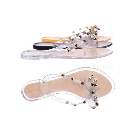 Women Jelly - Joanie173 by Wild Diva, Rockstud Clear Lucite Jelly Slides - Women Flat Sandal Flip Flops