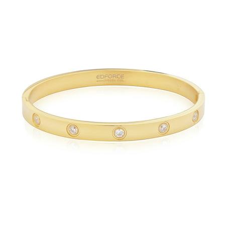 Edforce 18k Gold Bracelet Women's Relationship Set in Stone Gold Love Bangle Bracelet Hinged CZ Cubic Zirconia, 2.1 in x 2.3 -