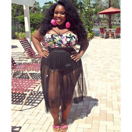 0c2b042b5c SENFLOCO - Women's L-4XL High Waisted Plus Size 2-Piece Bikini Set Swimsuit  - Floral Push Up Top + Bottom with Grenadine Skirt Cover Up - Walmart.com