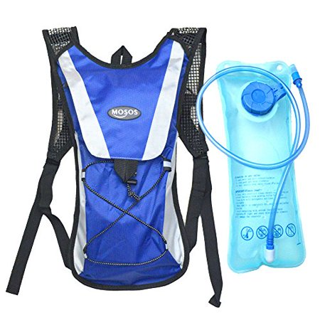 MOSOS Cycling Hydration Pack Water Backpack Hiking Climbing Pouch with 2L Hydration Bladder-Blue