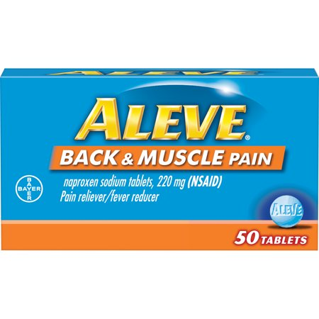 Aleve Back & Muscle Pain Reliever/Fever Reducer Naproxen Sodium Tablets, 220 mg, 50