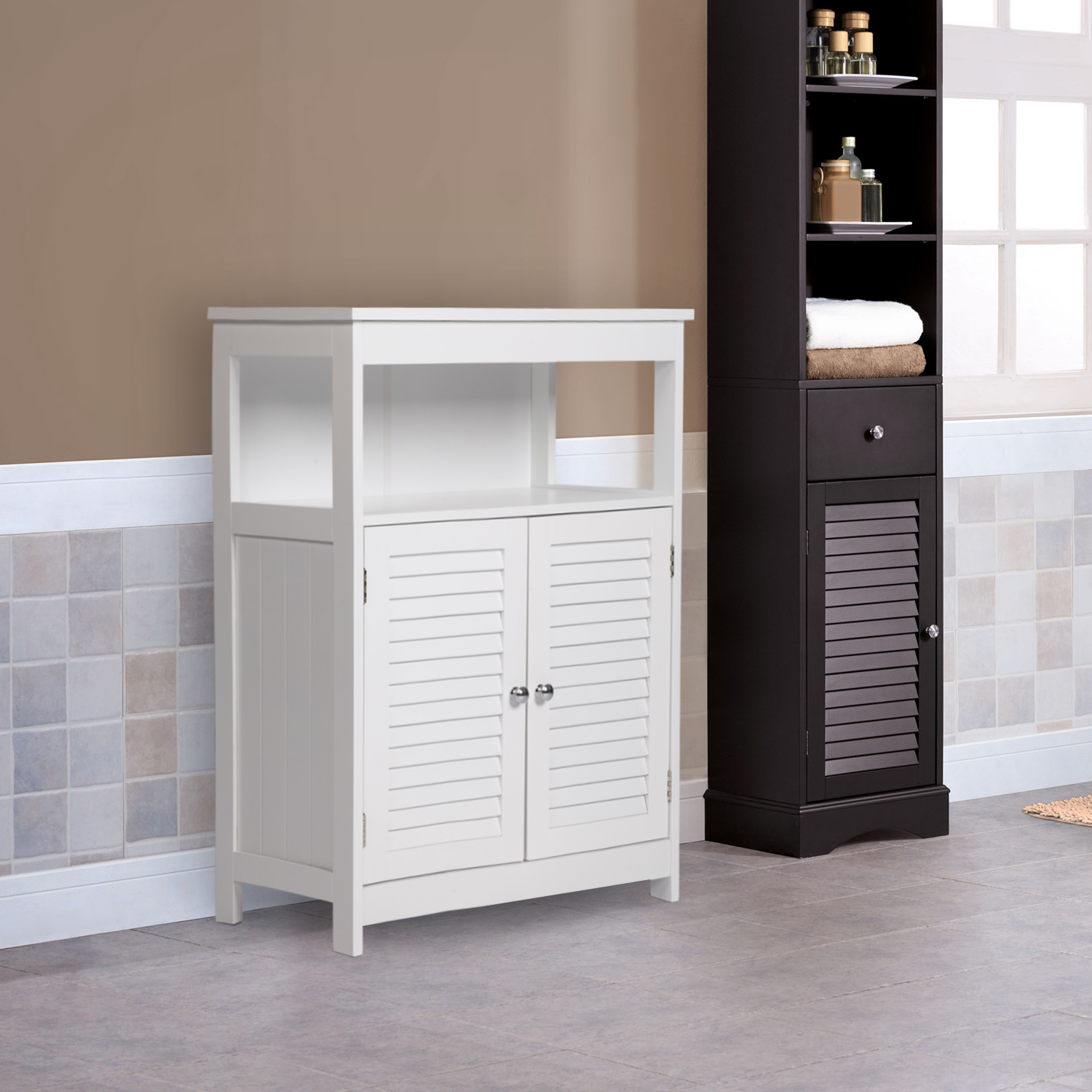 Kinbor Bathroom Floor Cabinet Free Standing Storage Cabinet Organizer With Double Shutter Doors And Adjustable Shelf For Home Furniture White Walmart Com Walmart Com