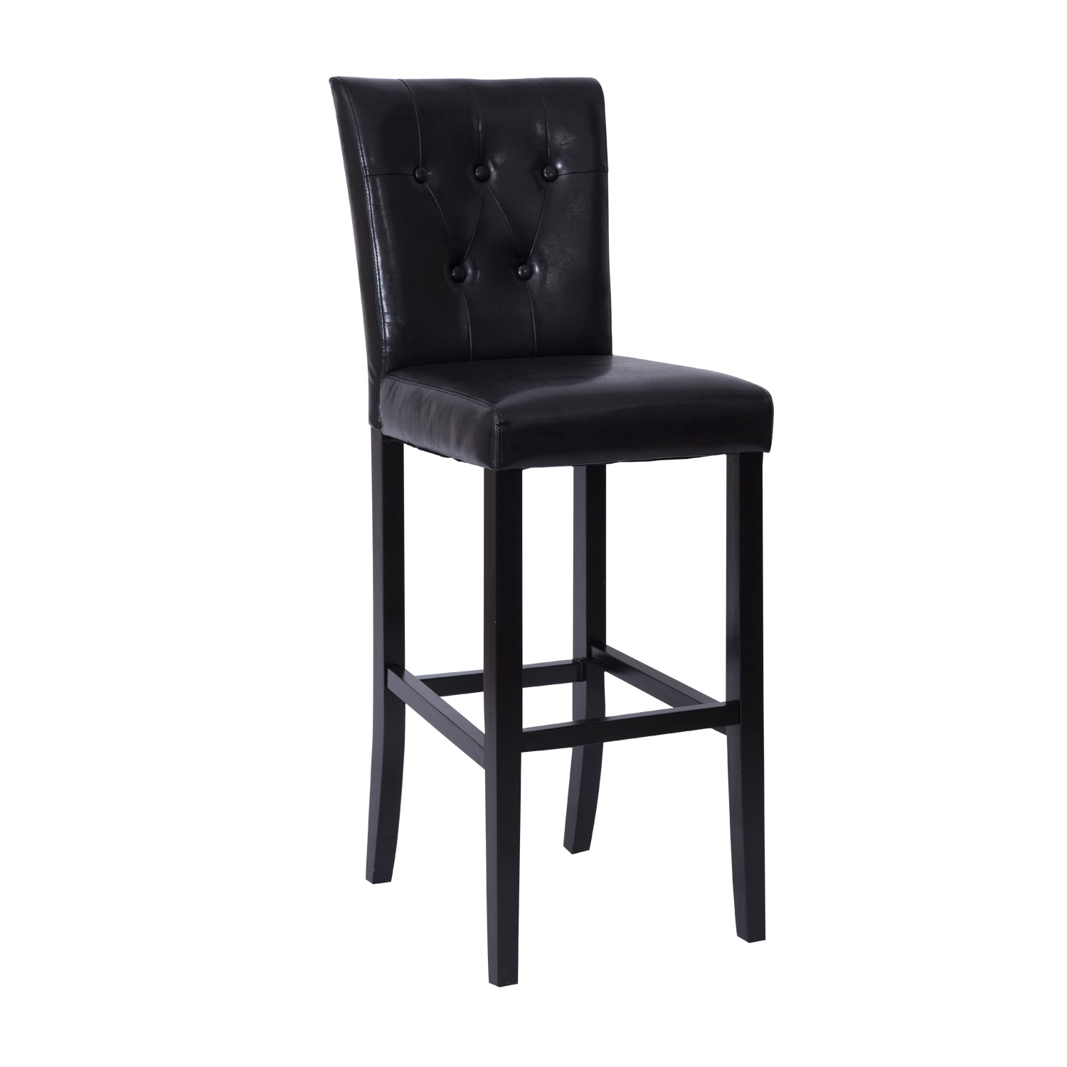"""Hom 41"""" PU Leather Padded Back Counter Stool Pub Chair Dark"""