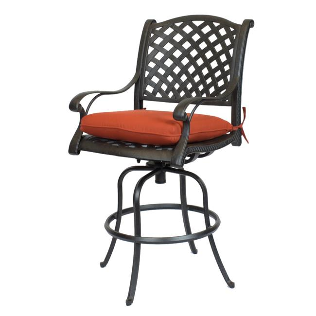 Comfort Care CC03A-TC Cast Aluminum Weave Outdoor Barstool with Sunbrella Terra Cotta Cushion - 50.6 x 24.2 x 27 in. - Set of 2