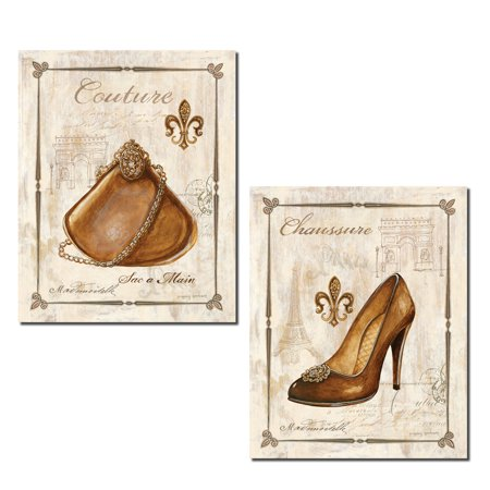 Popular French Gold Brown Frame Purse and High-Heel Fleur De Lis Set; Two 11x14 Poster