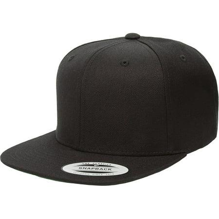 Original Yupoong Pro-Style Wool Blend Snapback Snap Back Blank Hat Baseball  Cap 6098M - Black 8ac2cd8886a