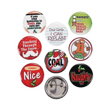 Fun Express - Funny Christmas Button Mix for Christmas - Jewelry - Pins - Novelty Buttons - Christmas - 24 Pieces