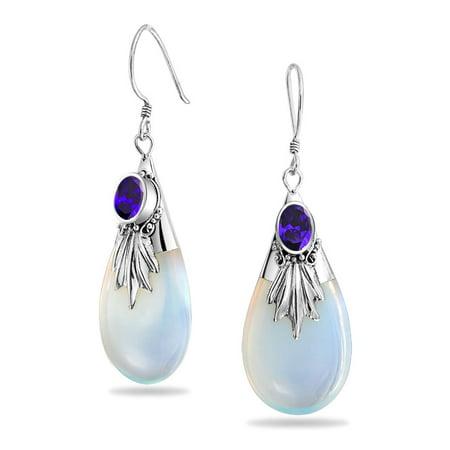 Bali Style Rainbow Opalite Glass Teardrop Pear Shaped Dangle Purple Cubic Zirconia CZ Earrings Fish Hook Sterling Silver