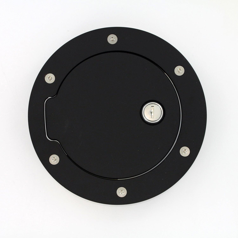 All Sales 6056KL Race Style Billet Fuel Door; Black Ring And Door; Locking; 6 1/4 in. Ring O.D. 4 1/2 in. Door O.D.;