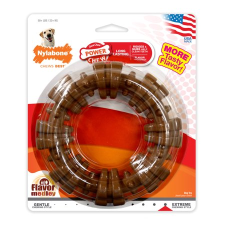 Nylabone Ring Power Chew Dura Chew Large Dog Toy, Flavor Medley, (New Nylabone)