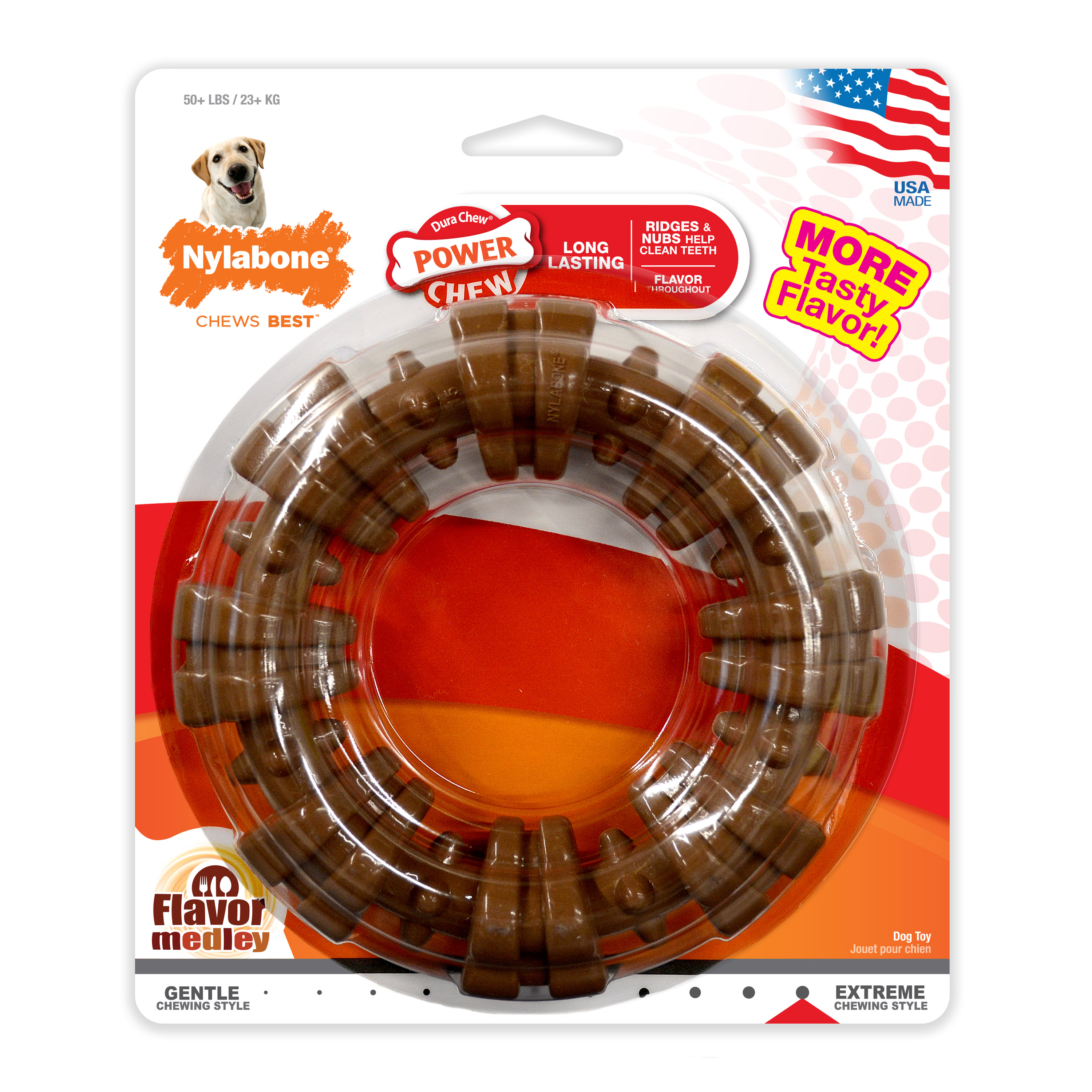 Nylabone Ring Power Chew Dura Chew Large Dog Toy Flavor Medley, Souper