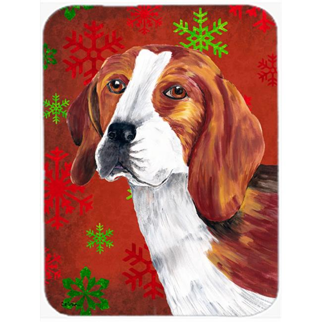 Carolines Treasures SC9409LCB Beagle Red And Green Snowflakes Holiday Christmas Glass Cutting Board - Large - image 1 of 1