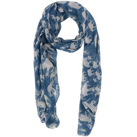 Lovely Animal or Elephant Patterned Sheer Lightweight Pashmina Scarf,Blue