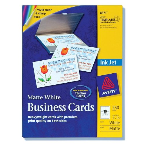 "Avery Business Card - A8 - 2"" X 3.50"" - Matte - 250 / Pack - White (AVE8371)"