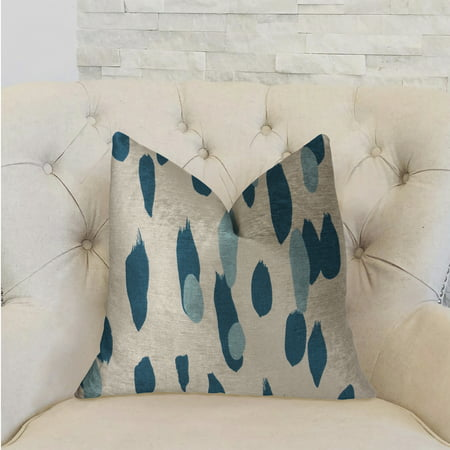 English Blue Willow - Plutus Bosky Willow Blue and White Luxury Throw Pillow