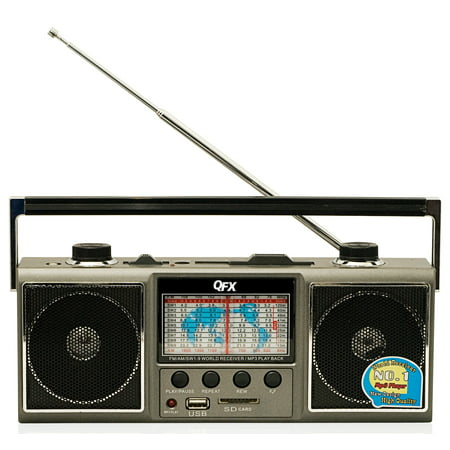 QFX J-114U AM/FM Shortwave Radio with USB and SD Card