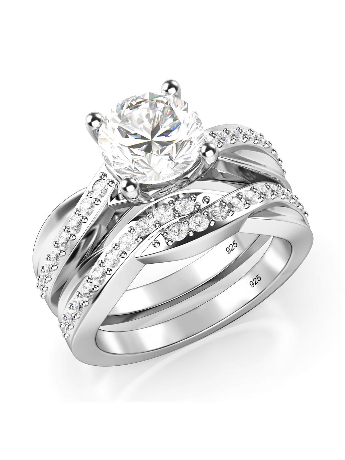 Sz 7 Sterling Silver 925 Round Brilliant Cut Cubic Zirconia CZ Engagement Ring Set