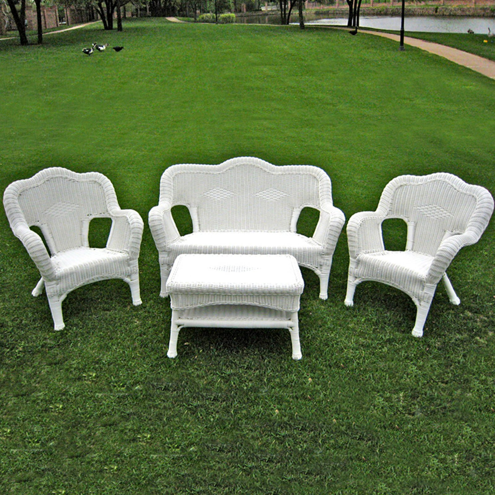 International Caravan Madison Wicker Resin Patio Conversation Set - Seats 4