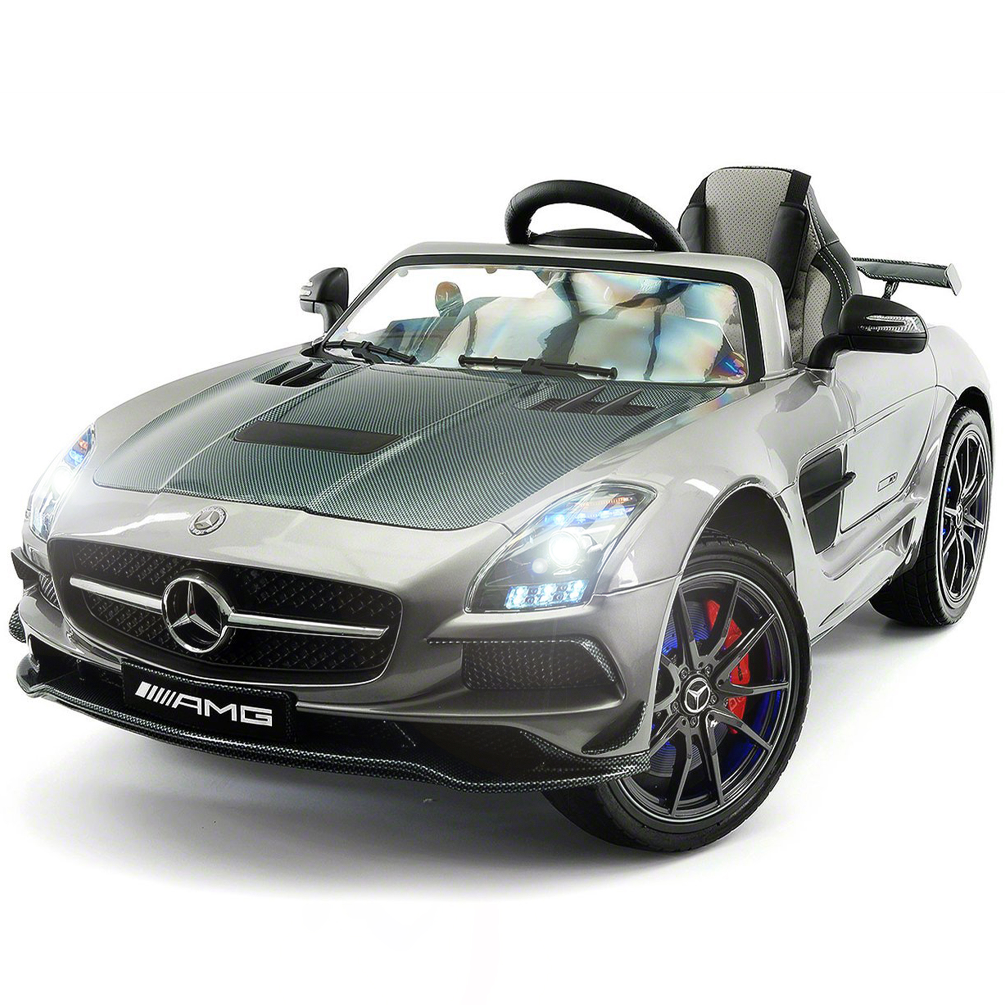 2019 Mercedes SLS AMG 12V Battery Powered Motorized Ride on Toy Car with Built in LCD TV, LED Lights, Leather Seat
