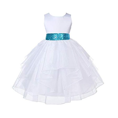 - Ekidsbridal White Satin Shimmering Organza Flower Girl Dresses Sequin Sash Communion Dress Baptism Dress Holiday Dresses Toddler Girl Dresses Junior Bridesmaid Dress Special Occasion Dresses 4613mh
