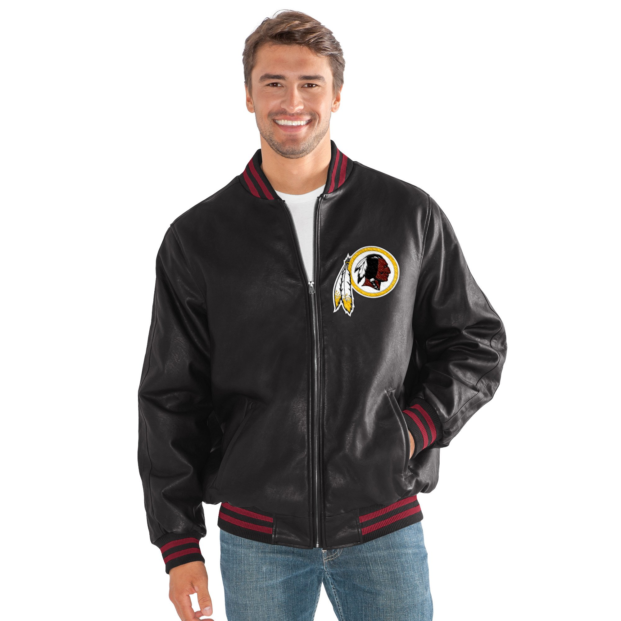 G-III Sports Washington Redskins Full Zip Black Pu Leathe...