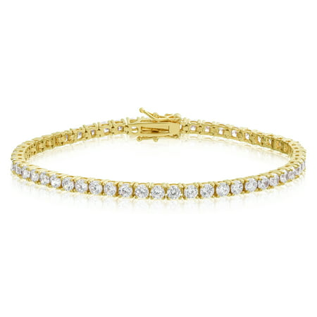 Simulated Diamond Tennis Bracelet Round Cut CZ 3mm Gold Plated Brass 7.25 inch - Gold Plated Tennis Bracelet