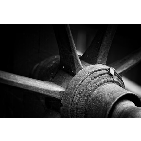 Framed Art for Your Wall Round Spokes Black and White Wood 10x13 Frame