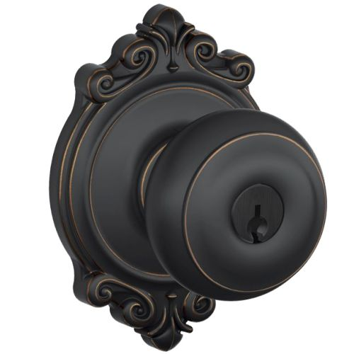 Schlage F51-GEO-BRK Georgian Keyed Entry F51A Panic Proof Door Knob with Brookshire Rosette