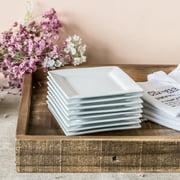 "Better Homes & Gardens 5"" Square Appetizer Plate, White, Set of 8"