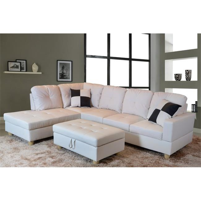 Lifestyle Furniture LF092A Urbania Left Hand Facing Sectional Sofa, White - 35 x 103.5 x 74.5 in.