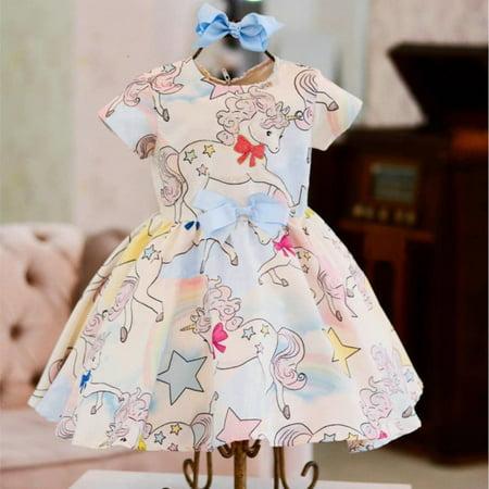 Newborn Toddler Kids Baby Girl Summer Clothes Unicorn Princess Party Pageant Tutu Dress Sundress