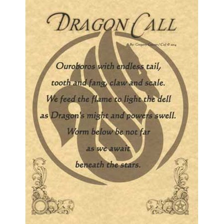 Home Wall Artwork Prayer Dragon Call Small Parchment Paper Poster Framing Size - Dragon Small Poster