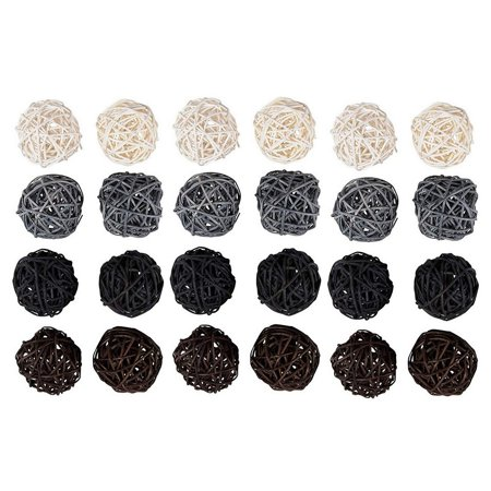 Juvale 24-Pack Multiple Color Wicker Rattan Balls - Decorative Orbs Natural Spheres Craft DIY, Wedding Decoration, Christmas Tree, House Ornaments Vase Filler - 4 Colors Assorted, 45 mm ()