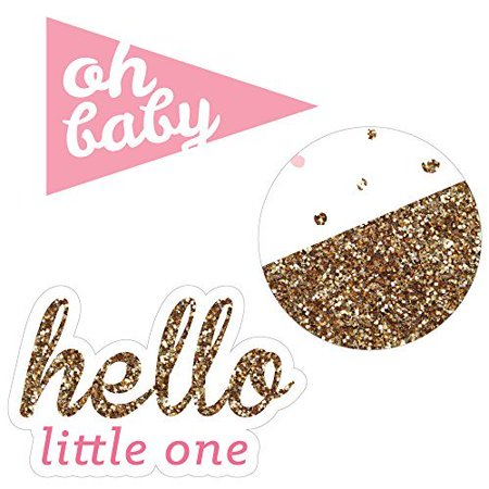 Hello Little One - Pink and Gold - DIY Shaped Girl Baby Shower Cut-Outs  - 24 Count