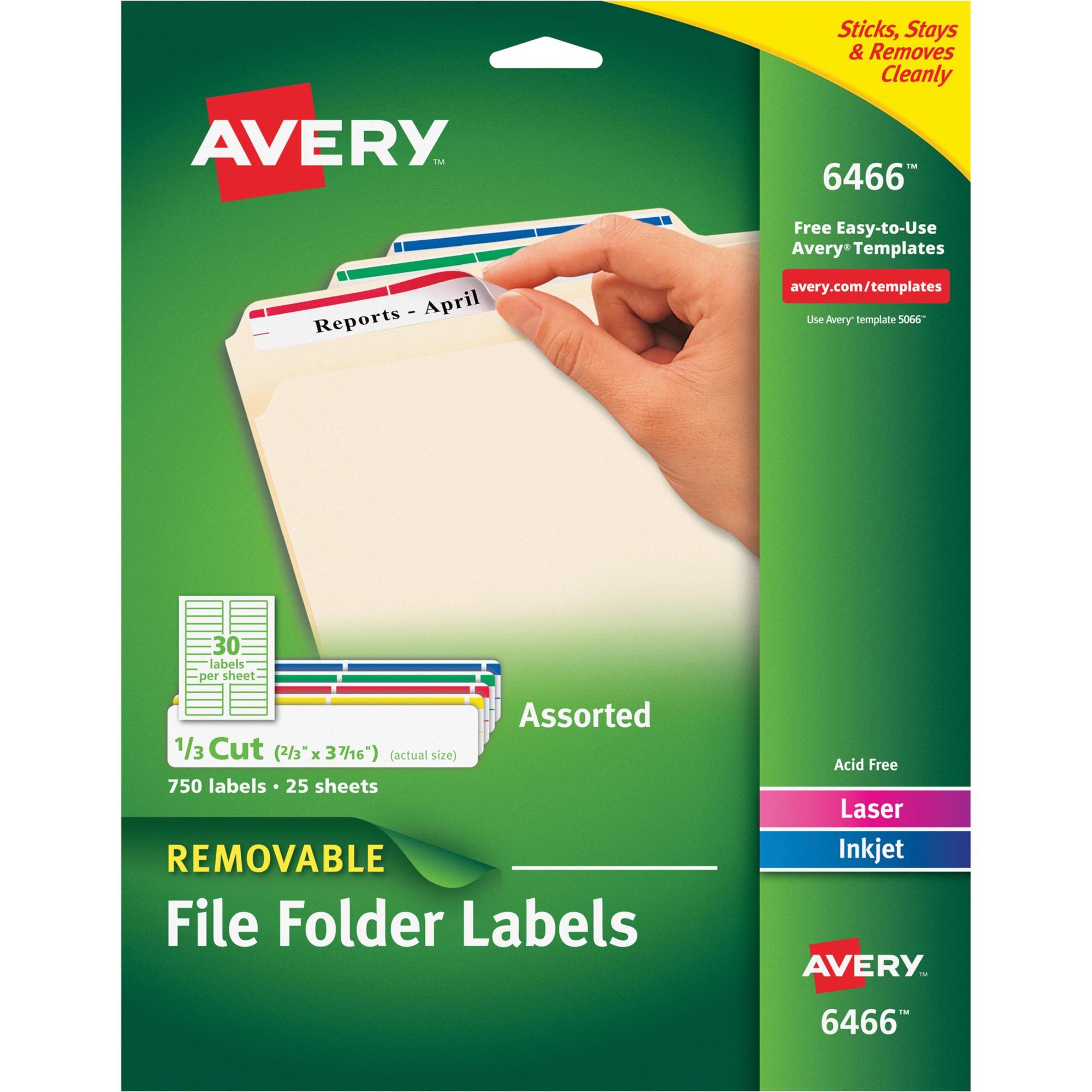 Avery Removable 1/3-Cut File Folder Labels, Inkjet/Laser, .66 x 3.44, WE/ASST, 750/PK