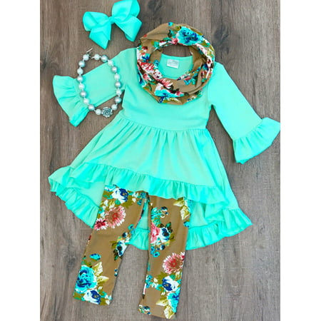Online Boutiques For Babies (Boutique Toddler Kids Baby Girl Flower Top Dress Pants Legging Outfit)