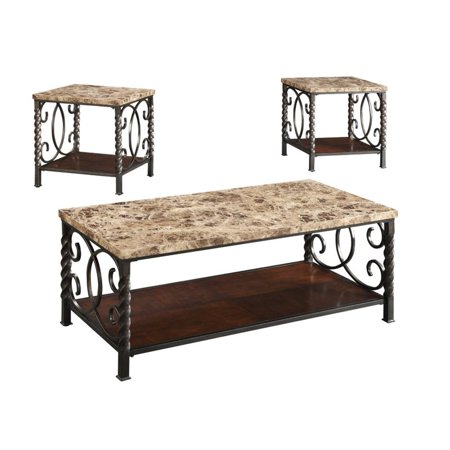 - Coaster Furniture 3 Piece Marble Top Coffee Table Set - Dark Brown