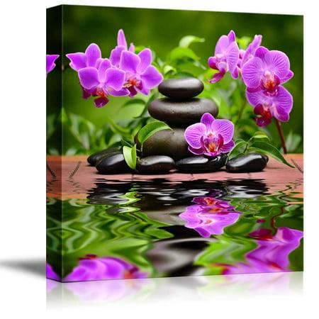 Zen Basalt Stones and Orchid Spa Beauty and Calmness Concept - Canvas Art Wall Decor - 16
