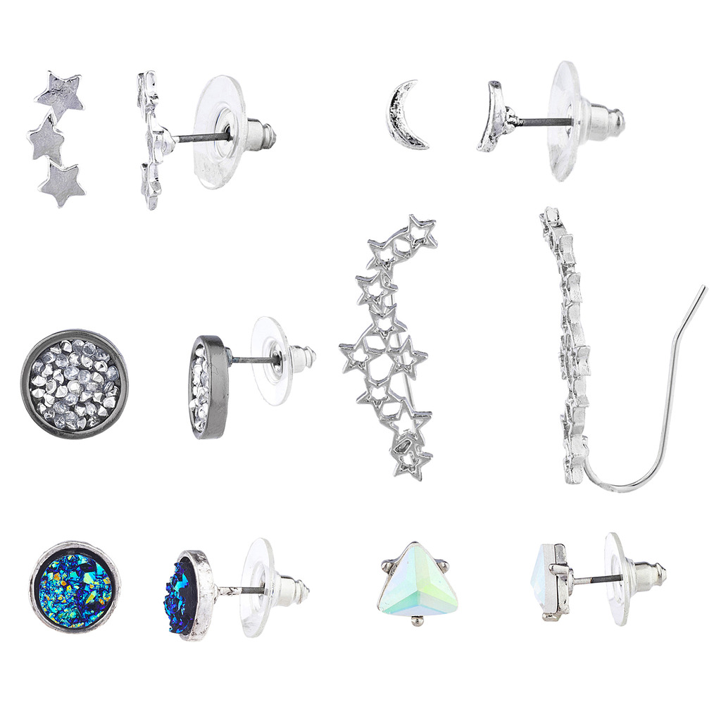Lux Accessories Silvertone Star Moon Celestial Ear Creeper Multi Earring Set 6PC