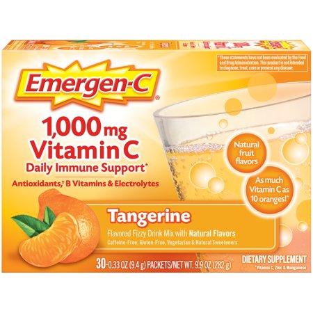 Emergen-C Vitamin C Drink Mix, Tangerine, 1000mg, 30 Ct