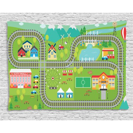 Kid's Activity Tapestry, Train Tracks with Colorful Town School City Mall and Amusement Park Fair, Wall Hanging for Bedroom Living Room Dorm Decor, 60W X 40L Inches, Multicolor, by (Bay Fair Mall)