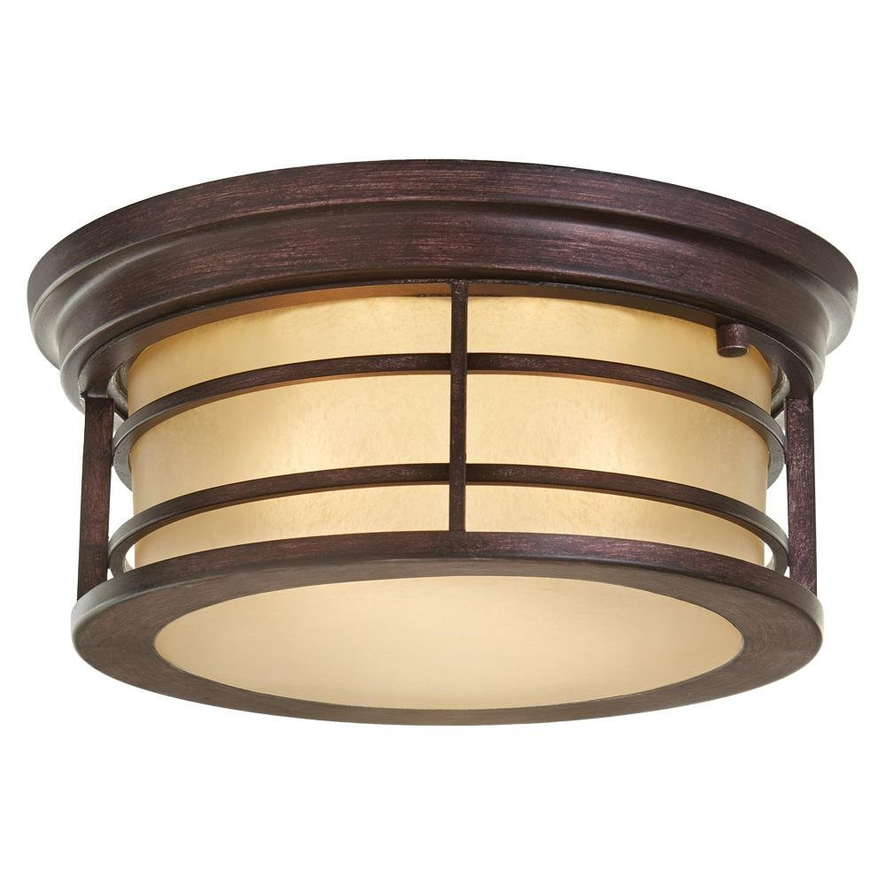 Home Decorators Collection 2-Light Bronze Outdoor Ceiling Light with Amber Glass