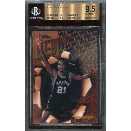 1997 98 Finest 101 Tim Duncan Spurs Rookie Card Bgs 95 10 9 95 95