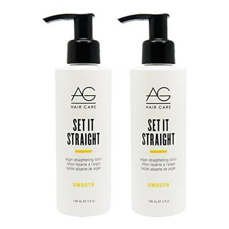 AG Hair Set It Straight Argan Straightening Lotion 5 oz - 2 PACK!! (Straightening Lotion)
