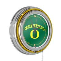 University of Oregon Chrome Double Rung Neon Clock