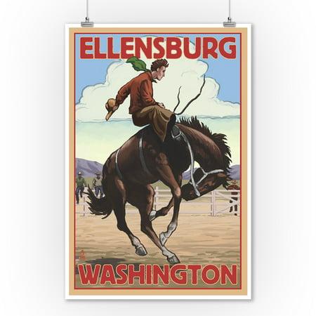 Ellensburg, Washington - Cowboy & Bronco Scene - Lantern Press Artwork (9x12 Art Print, Wall Decor Travel Poster) - Casino Cowboy Scene